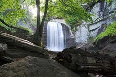 Looking Glass Falls near Asheville . take the Blue Ridge Parkway south past Mt. Pisgah, then take US 276 from Parkway toward Brevard. Nc Waterfalls, North Carolina Waterfalls, Used Camping Gear, Camping World, Blue Ridge Parkway, Blue Ridge Mountains, Pisgah Forest, Mountain City, Waterfall Hikes