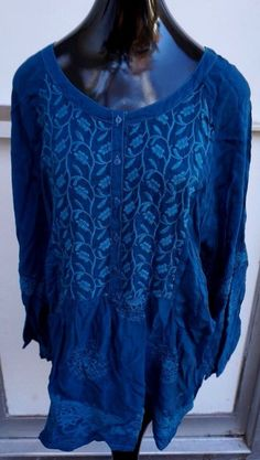 NWT Johnny Was Rayon Embroidery Shirt Teal Turquoise PLUS SZ 2X Women #JohnnyWas #Blouse