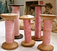 Antique Silk & Cotton Bobbins Collection Shades of by BrocanteArt, £31.20