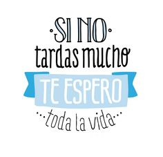 Si no tardas mucho... Te espero... ¡Toda la vida! (pineado por @PabloCoraje) #Citas #Frases #Quotes