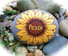 sunflower painted rocks | Sunflower Peace Rock by InnerSasa on Etsy