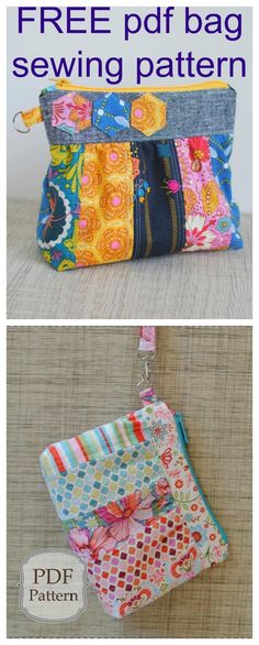 The Bella Clutch Bag is a FREE downloadable pdf sewing pattern. With a zipper top and a wrist strap, this little clutch is a great addition to a larger bag or can easily be carried on its own. The inside has four card pockets to eliminate the need for a w