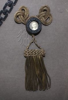 Antique French Mourning Pin Gold Bullion Passementerie