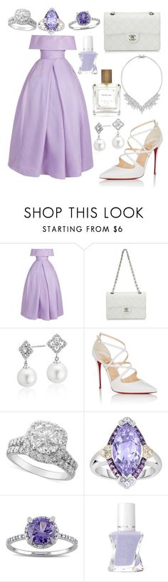 """""""Pitty Purple"""" by paisleythefashionista ❤ liked on Polyvore featuring Naeem Khan, Chanel, Blue Nile, Christian Louboutin, Phillip Gavriel, Miadora, Essie and The Perfumer's Story by Azzi"""