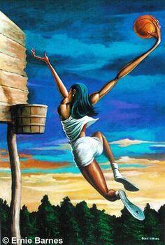 The Dunk by Ernie Barnes via American Gallery Black Love Art, Black Girl Art, Art Girl, Black Art Painting, Black Artwork, Sports Painting, African American Artwork, African Art, Caricatures