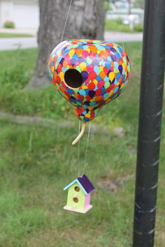 My UP inspired gourd birdhouse >Would be really cute with hot air balloon basket (for seed) hanging underneath
