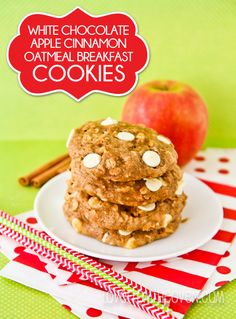 White Chocolate Apple Cinnamon Breakfast Cookies