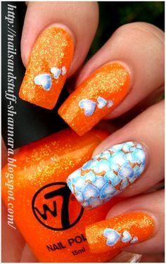 Nails and Stuff: Nail Art: Neon & Hearts.