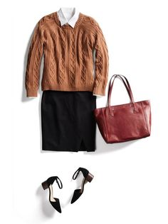 This would e a great look for work when I travel. Altjough it is so preppy, I love it. Love the camel chunky sweater. I would pair this with animal print pumps I have. Love the length and detail on this black skirt. Keeps it from being too basic.