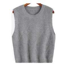 SheIn(sheinside) Grey Round Neck Knit Sweater Tank ($18) ❤ liked on Polyvore featuring tops, grey, gray tank, gray top, grey tank, grey knit top and grey top