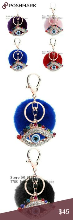 Evil eye bag charm. Good luck charm Good luck charm, Evil Eye 100% genuine Rex Rabbit Fur pom pom, 14k gold plated, with a colorful top quality Australian stones. High quality. Could be worn as  Bag charm, baby Crip charm, car charm, baby stroller charm. Great gift for any occasion. Even Valentine's Gift. It's new style on the market. Very colorful eye-catching pompom. Will not last long. Accessories Key & Card Holders