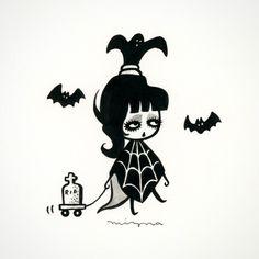 "By Mizna Wada. Illustration of Lydia Deetz from ""Beetlejuice"""