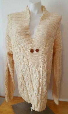 Christian Dior Women's 100% Wool Sweater Chunky Knit Cream Color Size Medium M  | eBay