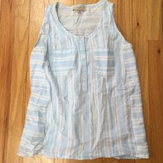 Loft sleeveless top Only worn once or twice and like new! Adorable baby blue and white stripe top. Half button down with front pockets. Made of 100% cotton. Lightweight and comfortable. Loose for but not baggy.  LOFT Tops