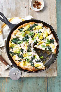 Spinach-Artichoke Deep-Dish Pizza  - CountryLiving.com
