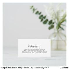 Simple Minimalist Baby Shower Book Request Enclosure Card Baby Sprinkle Invitations, Baby Shower Invitations For Boys, Rustic Books, Minimalist Baby, Baby Shower Balloons, Baby Boy Shower, Special Gifts, Place Card Holders, Simple
