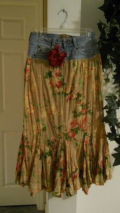 Belles Roses ruffled frilly frou frou French bohemian jean mermaid skirt