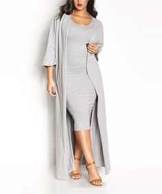 Take a look at this Rebdolls Gray Midi Sheath Dress & Duster- Plus Too today!