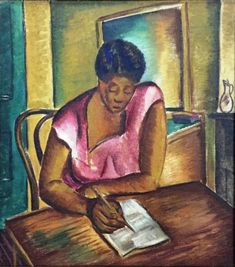 Malvin Gray Johnson, The Letter, oil on fabric, undated.