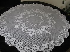 Hand Crochet White Roses Tablecloth by mariettanova on Etsy, $163.00