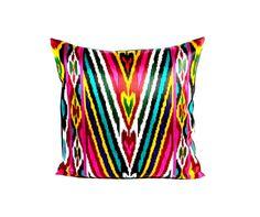 colorful silk ikat pillow