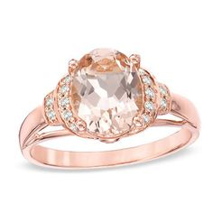 Oval Morganite and 1/10 CT. T.W. Diamond Ring in 10K Rose Gold