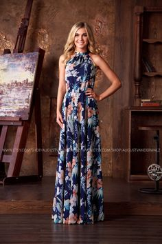 Long blue summer sleeveless dress