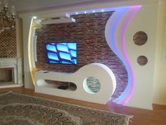 Knauf.bahram kakeh. Lcd Wall Design, Wall Partition Design, House Ceiling Design, Ceiling Design Living Room, Living Room Shelves, House Design, Plafond Staff, Simple Wall Paintings, Modern Tv Wall Units