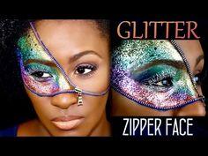 Zipper Face (GLITTER) Halloween Makeup | Shlinda1 - YouTube