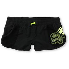 Crash with the waves and forget the wedgies in the Vented girls board shorts from Fox. These black and neon yellow short shorts are ready to shred with a wide elastic waistband, mesh side pockets, cinch tie, and dolphin-style split scalloped hems for total maneuverability. With a Fox Head logo in the left pocket and a jersey print FOX logo on the back you can rip it all day in style. Goes great with the Fox Girls Vented Flutter Neon Yellow Ruffle Bikini Top