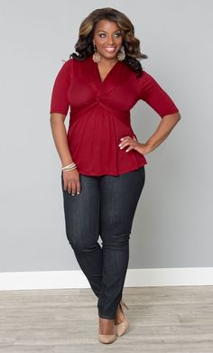 Be bold in patriotic red and blue with our plus size Caycee Twist Top and your favorite blue jeans.  www.kiyonna.com  #KiyonnaPlusYou  #MadeintheUSA  #Holiday