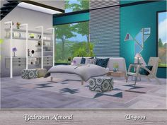 There are 13 items in this modern bedroom set:  Found in TSR Category 'Sims 4 Adult Bedroom Sets'