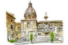 Illustrated Sketches of Sicily, Italy, including Moleskine journal notes and a handpainted map. Pen And Wash, Nature Sketch, Sketch Journal, Urban Sketchers, Sketchbook Inspiration, Watercolor Sketch, Animal Heads, Marker Art, Palermo