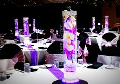 purple table runner cylinder table - Google Search