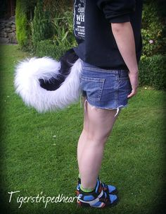 One Black and White Curly Husky Wolf Tail Cosplay Fursuit Cute Halloween on Etsy, Sold