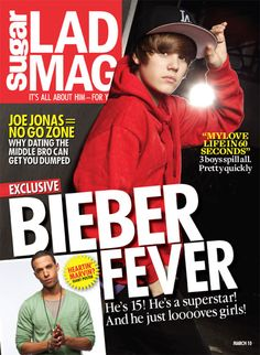 Biebs Cover on Lad Mag Magazine Jan 2010