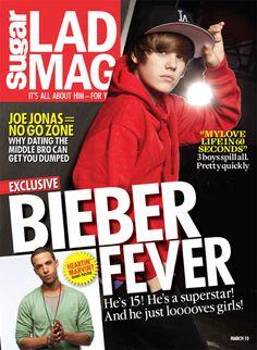 Biebs Cover on Lad Mag Magazine Jan 2010
