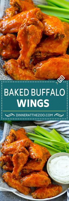 Baked Buffalo Wings Recipe The secret to crispy wings without a lot of oil is baking powder. It sounds strange, but coating the chicken wings in baking powder and seasonings will help the skin crisp up nicely. Baked Chicken Wings Buffalo, Crispy Baked Chicken Wings, Buffalo Hot Wings Recipe, Buffalo Chicken Recipes, Hot Buffalo Wings, Chicken Wings Oven, Baking Powder Chicken Wings, Cooking Chicken Wings, Healthy Buffalo Chicken