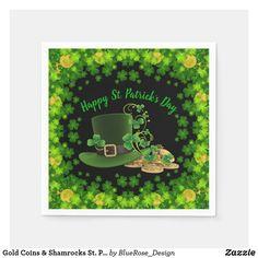 Patrick's Day Napkins created by ManCavePortal. Ecru Color, Succulents Diy, Cocktail Napkins, Gold Coins, Paper Napkins, St Patricks Day, Colorful Backgrounds, Party Supplies, Portal