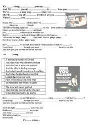 English worksheet: Wiz Khalifa - See You Again ft. Charlie Puth a BEAUTIFIUL SONG