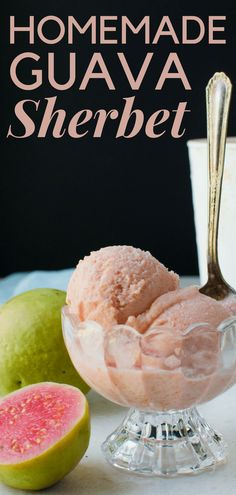 Looking for simple guava desserts? How about a homemade sherbet? Slightly richer than guava sorbet, this tropical dessert is luscious and easy to make. Guava Desserts, Guava Recipes, Sherbet Recipes, Tropical Desserts, Beer Recipes, Best Dessert Recipes, Frozen Desserts, Cream Recipes, Tropical Fruits