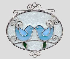 Stained glass lovebirds   Stained Glass Art by Glass Illusions - Bird Hangings