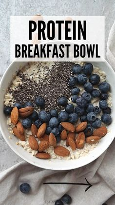 High Protein Breakfast, High Protein Snacks, Breakfast Bowls, Breakfast Recipes, Plant Based Protein, Plant Based Diet, Plant Based Recipes, Soy Milk, Mixed Berries