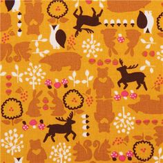yellow bear owl acorn forest animal cotton fabric from Japan 2