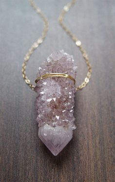 Lavender Spirit Quartz Necklace Gold OOAK