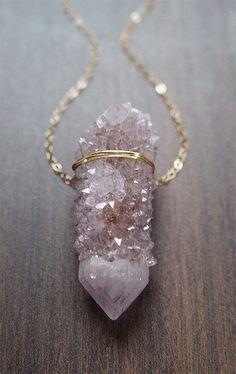 Lavender Spirit Quartz Necklace//