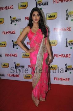 Actor Shruti Hassan in ultra beautiful Manish Malhotra http://www.manishmalhotra.in/flash.html #Saree at Filmfare Awards (South) 2012, via @uolpinterest