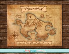 Neverland Map / Nursery Decor / Child's Room Decor / Disney Posters / Peter Pan / Disney Room