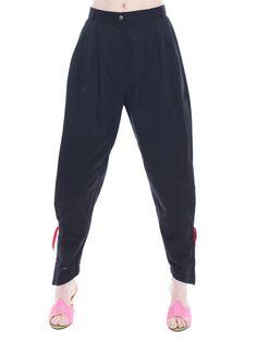 Vintage Byblos Pleated Black Pants With Red Tassel Detail