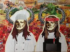 WILLIE AS CHEFS -- 18 x 24in -- Mixed Media on Board -- CONTACT: annegenung@gmail.com